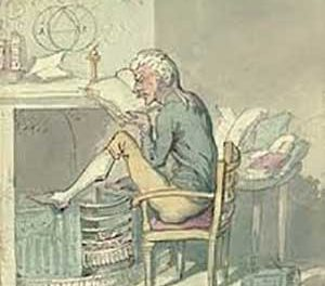 The pedant, obsessively checking the correctness of every word he reads, as seen  by Thomas Rowlandson, the Georgian era caricaturist.